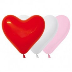 Heart Fashion White, Pink & Red Love Sweetheart Latex Balloons 15cm Pack of 50