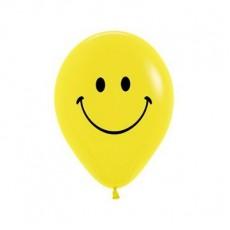 Teardrop Fashion Yellow Emoji Smiley Face Latex Balloons 30cm Pack of 12