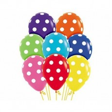 Teardrop Fashion Multi Coloured with White Polka Dots Latex Balloons 30cm Pack of 12