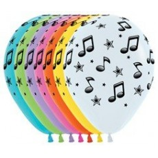 Teardrop Fashion Assorted Disco & 70's Music Notes Latex Balloons 30cm Pack of 12