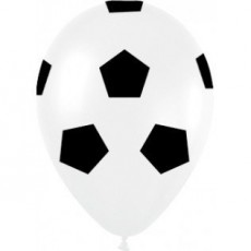 Teardrop Soccer Balls Black & White Print Latex Balloons 30cm Pack of 12