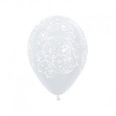 Teardrop Satin Pearl White Filigree Latex Balloons 30cm Pack of 12