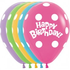 Happy Birthday Assorted Colours with White Dots Latex Balloons
