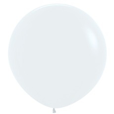Round Fashion White Latex Balloons 90cm Pack of 2