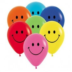 Teardrop Fashion Multi Coloured Emoji Smiley Face Latex Balloons 30cm Pack of 12
