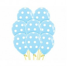 Teardrop Light Blue with White Polka Dots Latex Balloons 30cm Pack of 12