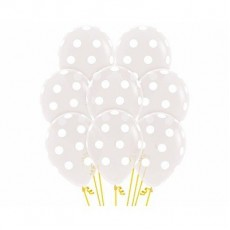 Dots & Stripes Crystal Diamond Clear White Polka Dots Jewel Latex Balloons