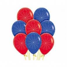 Halloween Fashion Red & Royal Blue Spider Webs Latex Balloons