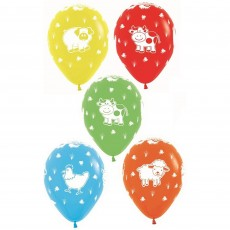 Farmhouse Fun Multi Coloured Fashion Farm Animals Latex Balloons