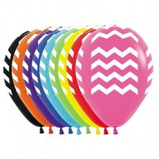Chevron Design Fashion Multi Coloured  Latex Balloons