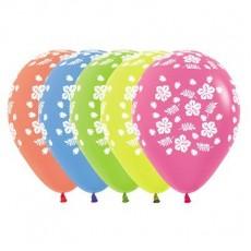 Hawaiian Luau Neon Multi Coloured Hibiscus Latex Balloons