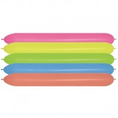 Neon Multi Coloured Link O Loon Latex Balloons 5cm x 150cm Pack of 20