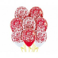 Teardrop Red & White Love Double Hearts Latex Balloons 30cm Pack of 12