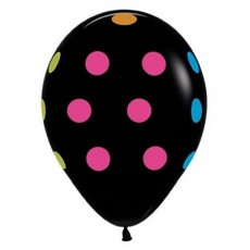 Dots & Stripes Neon Polka Dots on Black Latex Balloons