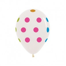 Dots & Stripes Neon Polka Dots on Crystal Clear Latex Balloons