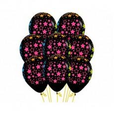 Multi Colour Bold Neon Stars on Fashion Black Latex Balloons