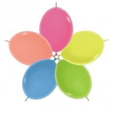 Neon Multi Coloured Link O Loon Latex Balloons 28cm Pack of 25