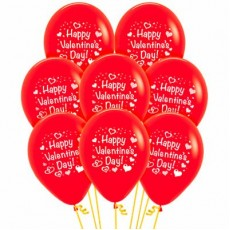 Teardrop Fashion Red Hearts Happy Valentine's Day! Latex Balloons 30cm Pack of 12