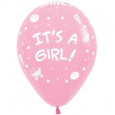 Teardrop Fashion Pink Baby Shower - General It's a Girl! Latex Balloons 30cm Pack of 12