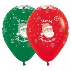 Christmas Fashion Red & Green Santa Fashion Latex Balloons