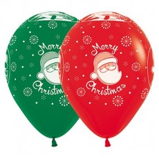Christmas Red & Green Santa Fashion Latex Balloons