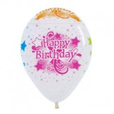 Happy Birthday Crystal Clear & Neon  Latex Balloons