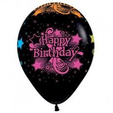 Happy Birthday Fashion Black & Neon  Latex Balloons