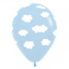 Blue Fashion Light with White Clouds Latex Balloons