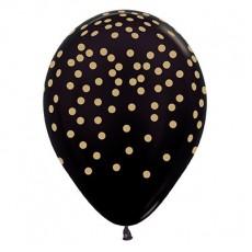 Black Metallic Gold Confetti Latex Balloons