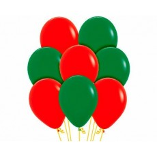 Christmas Fashion Red & Forest Green Assorted Latex Balloons