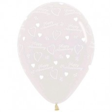 Anniversary Crystal Clear  Latex Balloons