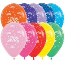 Happy Birthday Fashion Multi Coloured Twinkling Stars Latex Balloons