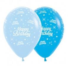 Happy Birthday Fashion Blue & Royal Blue Twinkling Stars Latex Balloons