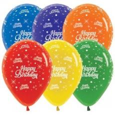 Happy Birthday Jewel Crystal Multi Colour Twinkling Stars Latex Balloons