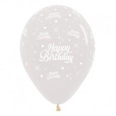 Happy Birthday Crystal Clear Twinkling Stars Latex Balloons