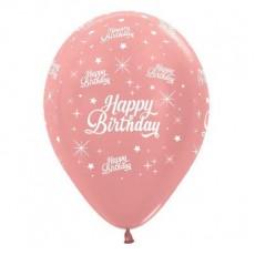 Happy Birthday Metallic Rose Gold Twinkling Stars Latex Balloons