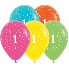 Number 1 Party Decorations - Latex Balloons Tropical Multi Colour 30cm