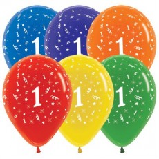 Number 1 Crystal Multi Coloured  Latex Balloons