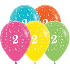 Number 2 Tropical Multi Coloured  Latex Balloons