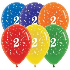 Number 2 Crystal Multi Coloured  Latex Balloons