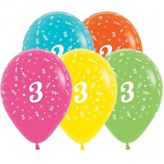 Number 3 Tropical Multi Coloured  Latex Balloons