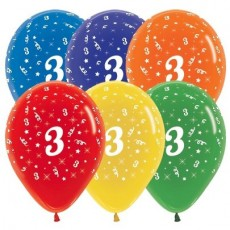 Number 3 Crystal Multi Coloured  Latex Balloons