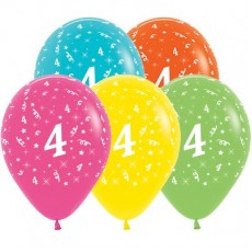 Number 4 Party Decorations - Latex Balloons Tropical Multi Colour 30cm