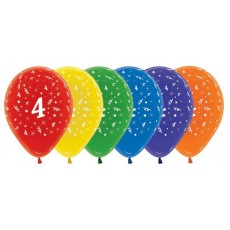 Number 4 Multi Colour  Latex Balloons