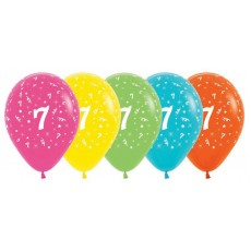 Number 7 Tropical Multi Coloured  Latex Balloons