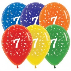 Number 7 Crystal Multi Coloured  Latex Balloons