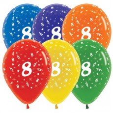 Number 8 Crystal Multi Coloured  Latex Balloons