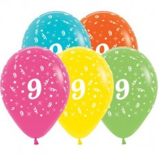 Number 9 Tropical Multi Coloured  Latex Balloons