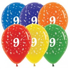 Number 9 Crystal Multi Coloured  Latex Balloons