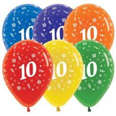 Multi Colour Crystal ed Age 10 Latex Balloons